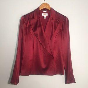 Talbots Silk Cross Front Collar Blouse